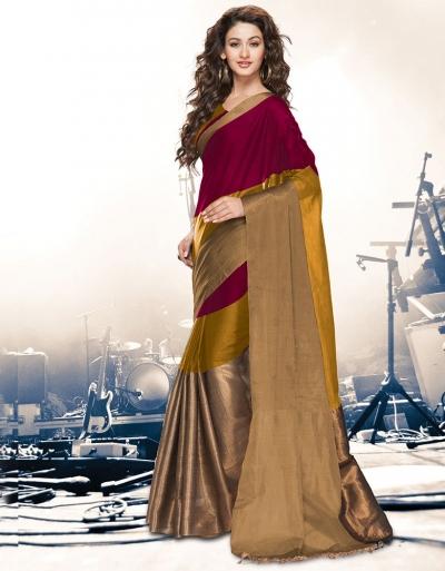 Aryaa Ruby Mustard Party Wear Cotton Saree