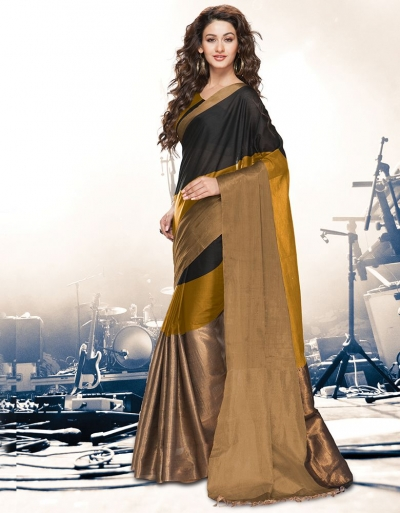 Aryaa Mustard Black Party Wear Cotton Saree