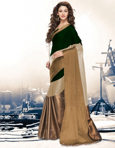 Aryaa Ginger Green Party Wear Cotton Saree