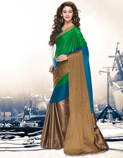 Aryaa Peacock Green Party Wear Cotton Saree