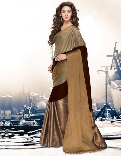 Aryaa Browny Beige Party Wear Cotton Saree
