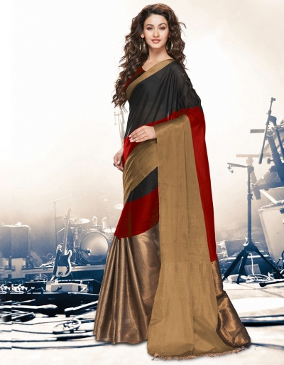 Aryaa Currant Black Party Wear Cotton Saree