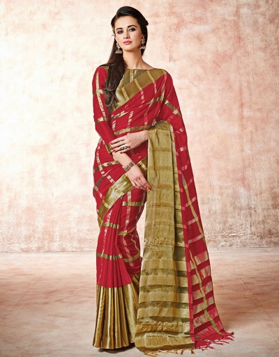 Aashi Rustic Red Cotton Sarees    s