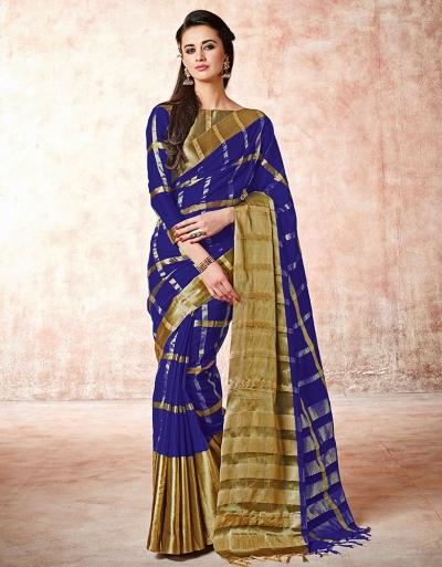 Aashi Royal Blue Cotton Saree   s