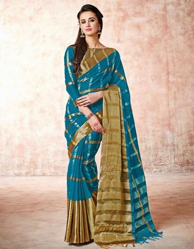 Aashi Peacock Blue Cotton saree