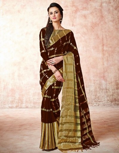 Aashi Chocolate Brown Cotton Saree