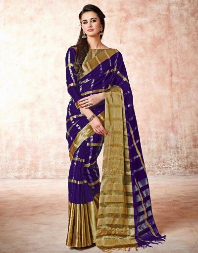 Aashi Bold Violet Cotton Saree