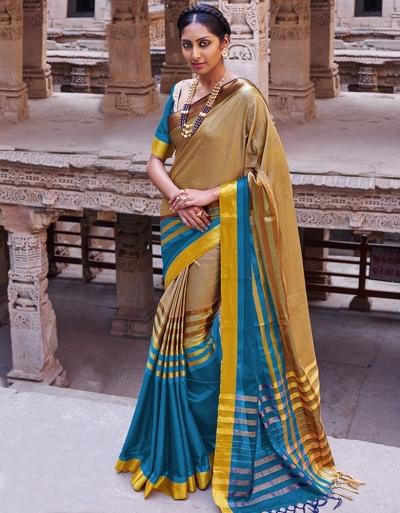 Abhirati Pacific Blue Wedding Wear Cotton Sarees