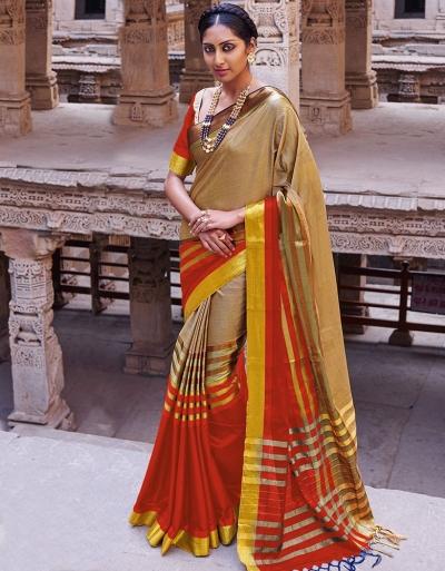 Abhirati Lipstick Red Wedding Wear Cotton Saree