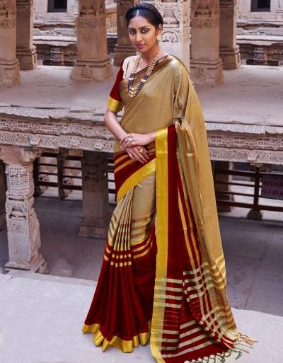 Abhirati Lambent Maroon Wedding Wear Cotton Saree
