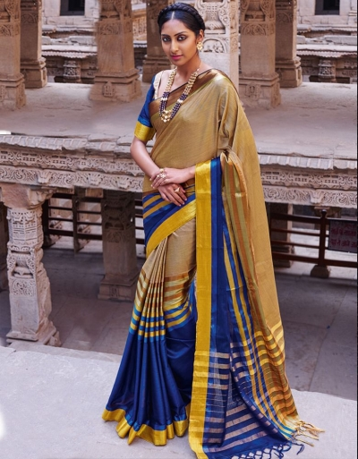 Abhirati Sapphire Blue Wedding Wear Cotton Sarees