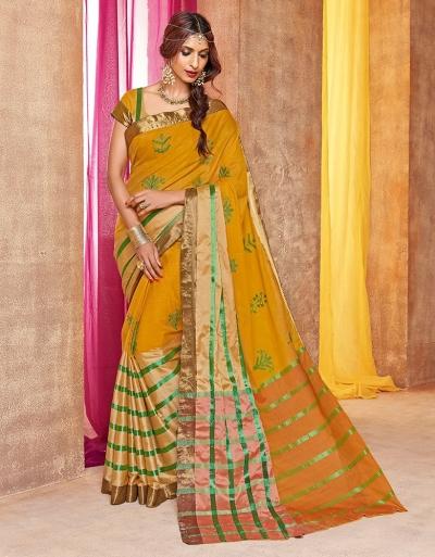 Mehendi Designer Wear Cotton Saree