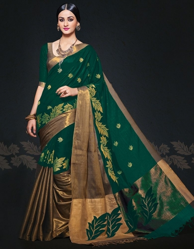 Aryaa August Emerald Designer Wear Cotton Sarees
