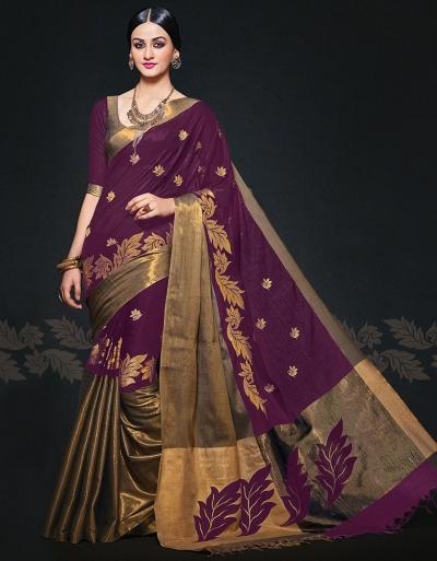 Aryaa August Sangria Designer Wear Cotton Sarees