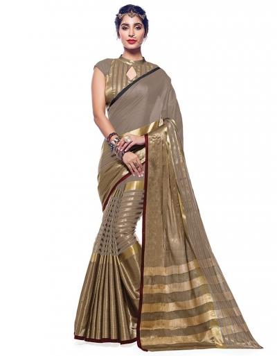 Ora Dusky Beige Designer Wear Cotton Saree