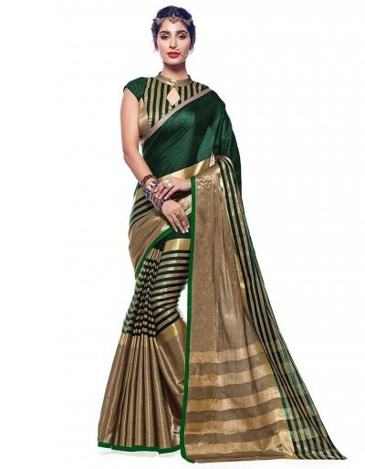 Ora Emerald Green Designer Wear Cotton Saree
