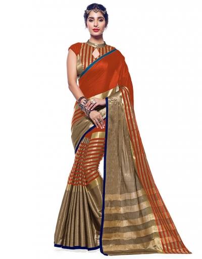 Ora Tangy Orange Designer Wear Cotton Saree