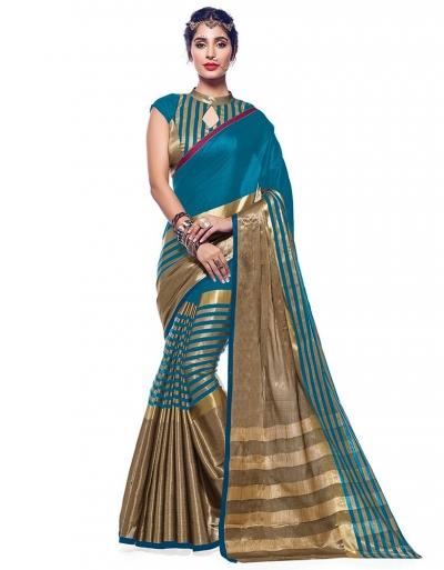Ora Peacock Blue Designer Wear Cotton Saree
