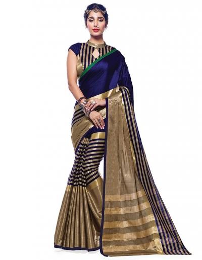Ora Symphony Blue Designer Wear Cotton Saree