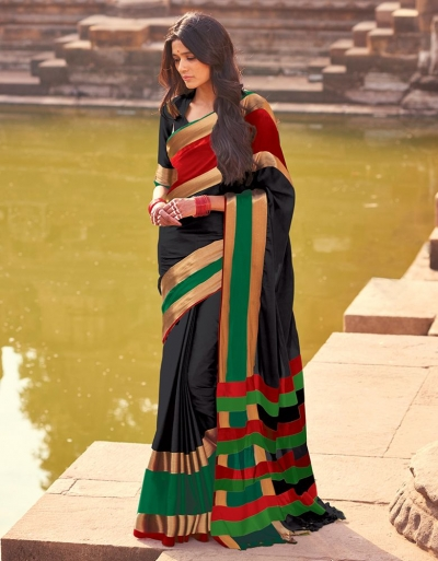 Aangi Plus Black Cotton Wear Sarees