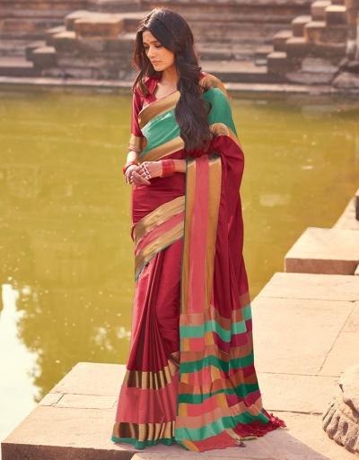 Aangi Plus Red Cotton Wear Sarees