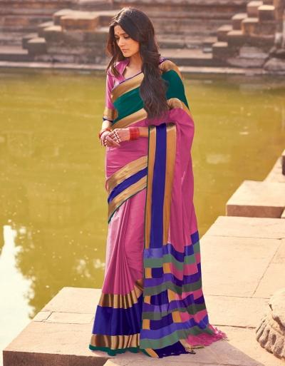 Aangi Plus Pink Cotton Wear Sarees