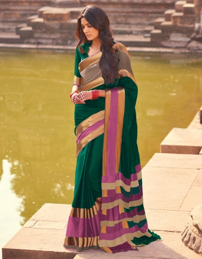 Aangi Plus Dark Green Cotton Wear Sarees