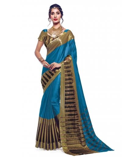 Shinat Peacock Blue Designer Wear Cotton Saree