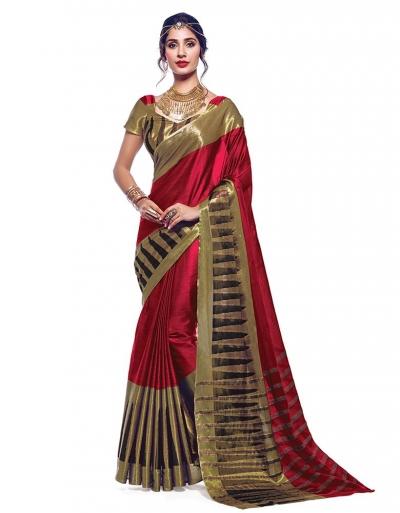 Shinat Currant Red Designer Wear Cotton Saree