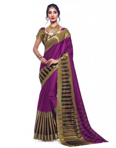 Shinat Wine Magenta Designer Wear Cotton Saree