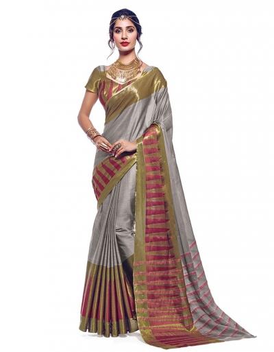 Shinat Ash Grey Designer Wear Cotton Saree