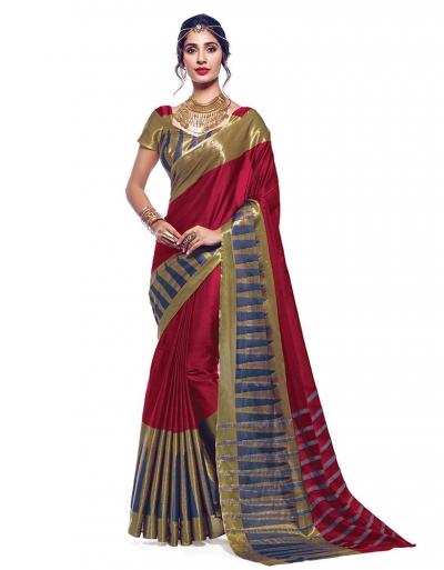 Shinat Ruby Pink Designer Cotton Saree