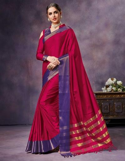 Nimmi Shine Pink Cotton Saree