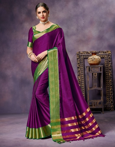 Nimmi Sangria Magenta Cotton Saree