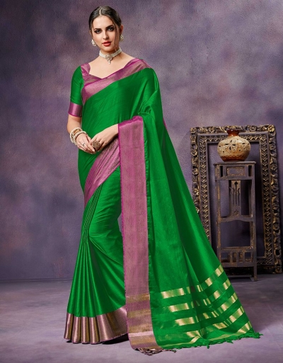 Nimmi Lush  Green Cotton Saree