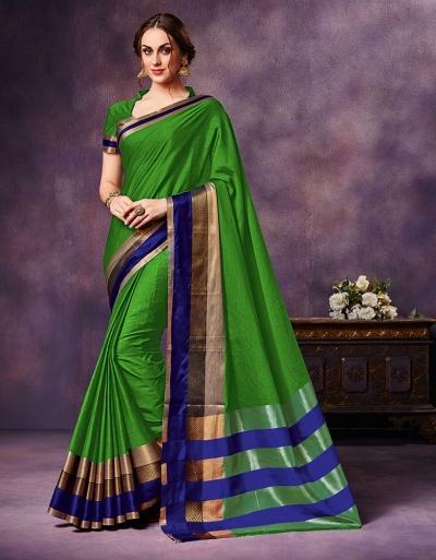 Mysha Peppy Green Festive Wear Cotton Saree