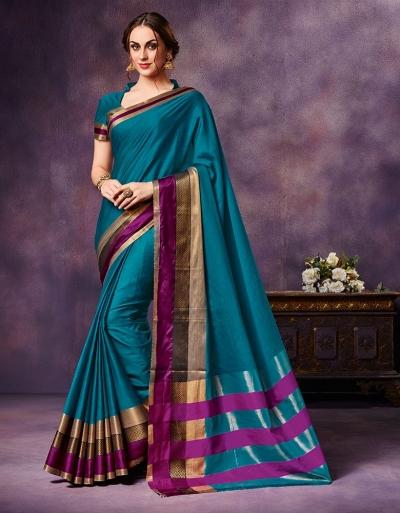 Mysha Turquoise Blue Festive Wear Cotton Saree