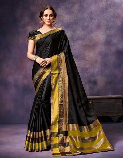 Mysha Fiesty Black Festive Wear Cotton Saree