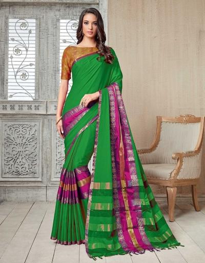 Kasmira Prime Lush Green Festive wear Cotton Saree