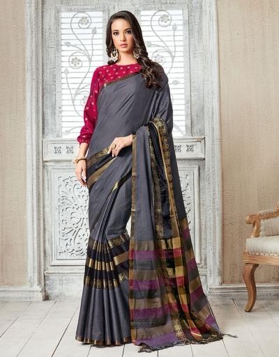 Kasmira Prime Ash Grey Festive wear Cotton Saree
