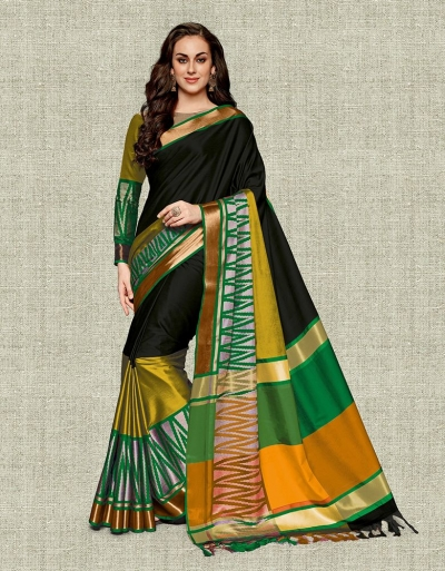 Noor Onxy Black Festive wear Cotton Saree