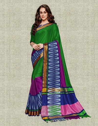 Noor Lush Green Festive wear Cotton Saree