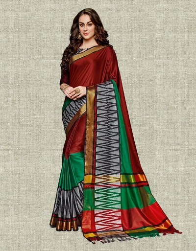 Noor Currant Red Festive wear Cotton Saree