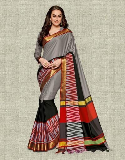 Noor Ash Grey Festive wear Cotton Saree