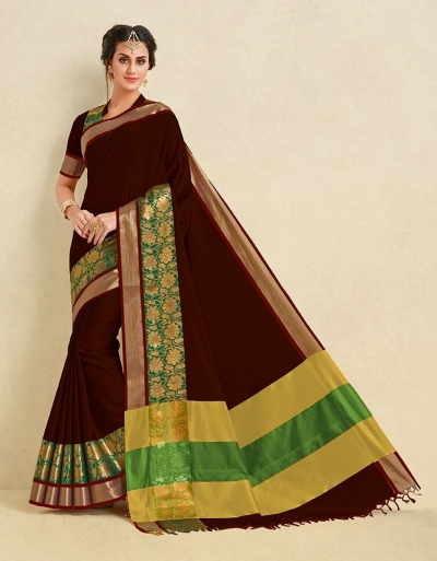Arianna Coffee Brown Cotton Designer Saree