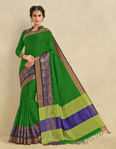 Arianna Lush Green Cotton  Designer Saree