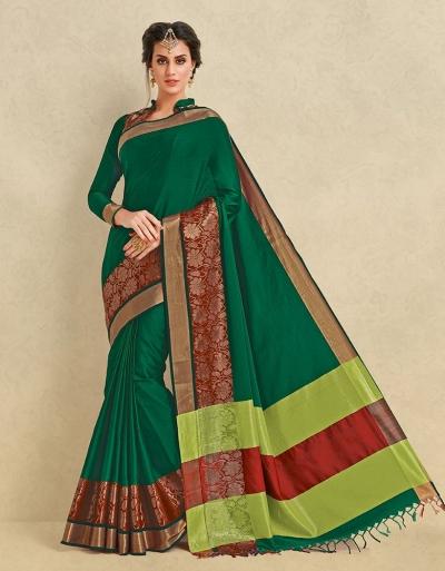 Arianna Tender Green Cotton Designer Saree