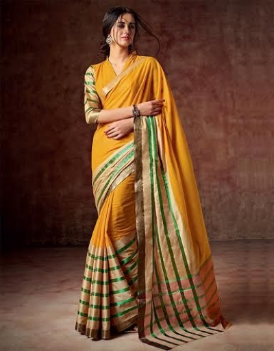 Arohi Shagun Orange Cotton Saree