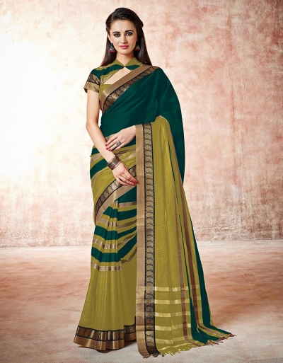 Parisa forest green Cotton Saree