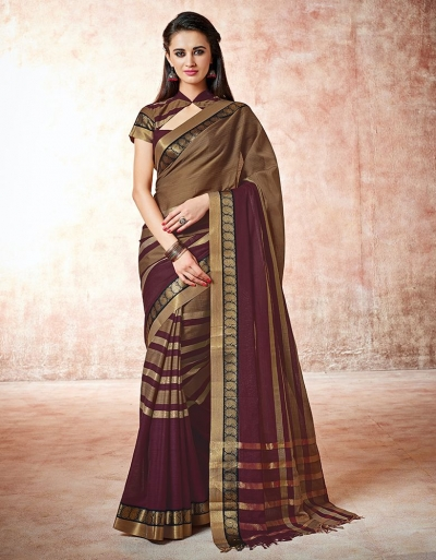 Parisa donna brown Cotton Saree